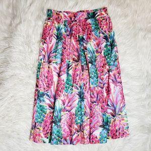 J. Crew Ratti Painted Pineapple Midi A Line Skirt